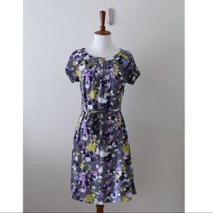 Boden Spring Tea Dress Gray Floral WH360 Size 2P